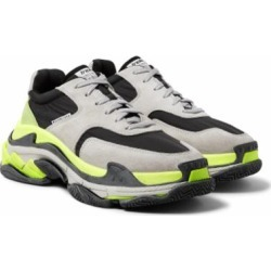 Triple S Nylon, Suede And Leather Sneakers - Gray - Balenciaga Sneakers