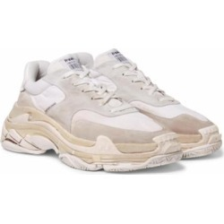 Triple S Shell And Suede Sneakers - White - Balenciaga Sneakers